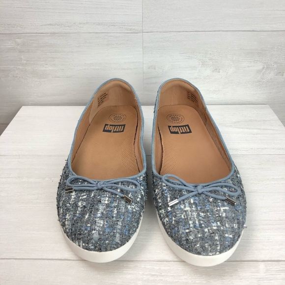 3229de2405be SUPERCHIC Luxe Tweed Ballerinas Blue. NWT. Fitflop